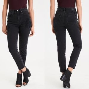 American Eagle Flower Embroidered Mom Jeans